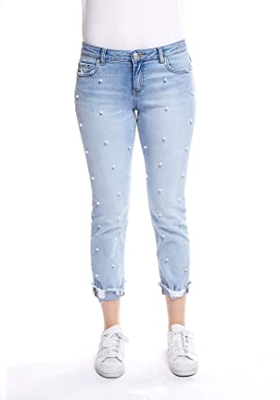 2021f9a85028d Image Unavailable. Image not available for. Color  Glamsia Denim Women s  Juniors Mid Rise Girlfriend Pearl Jeans - Regular and Plus