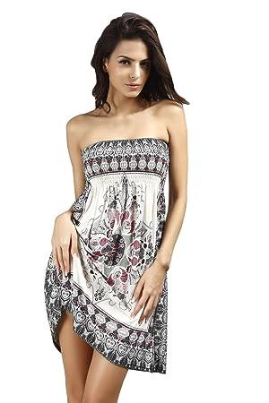 Vestido sin tirantes Para Mujer De Fiesta Noche Playa (Blanco)