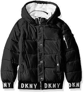26b0051f19e5f Amazon.com: DKNY Girls' Fashion Hooded Bomber Jacket: Clothing