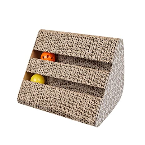 Kobwa - Rascador de gatos de cartón duradero, divertido poste rascador para gatos con cascabel