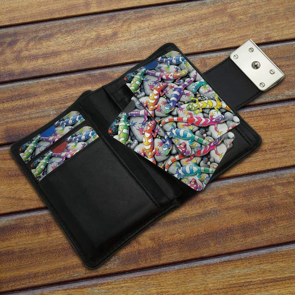 Rainbow Colorful Geckos Lizards Credit Card RFID Blocker Holder Protector Wallet Purse Sleeves Set of 4