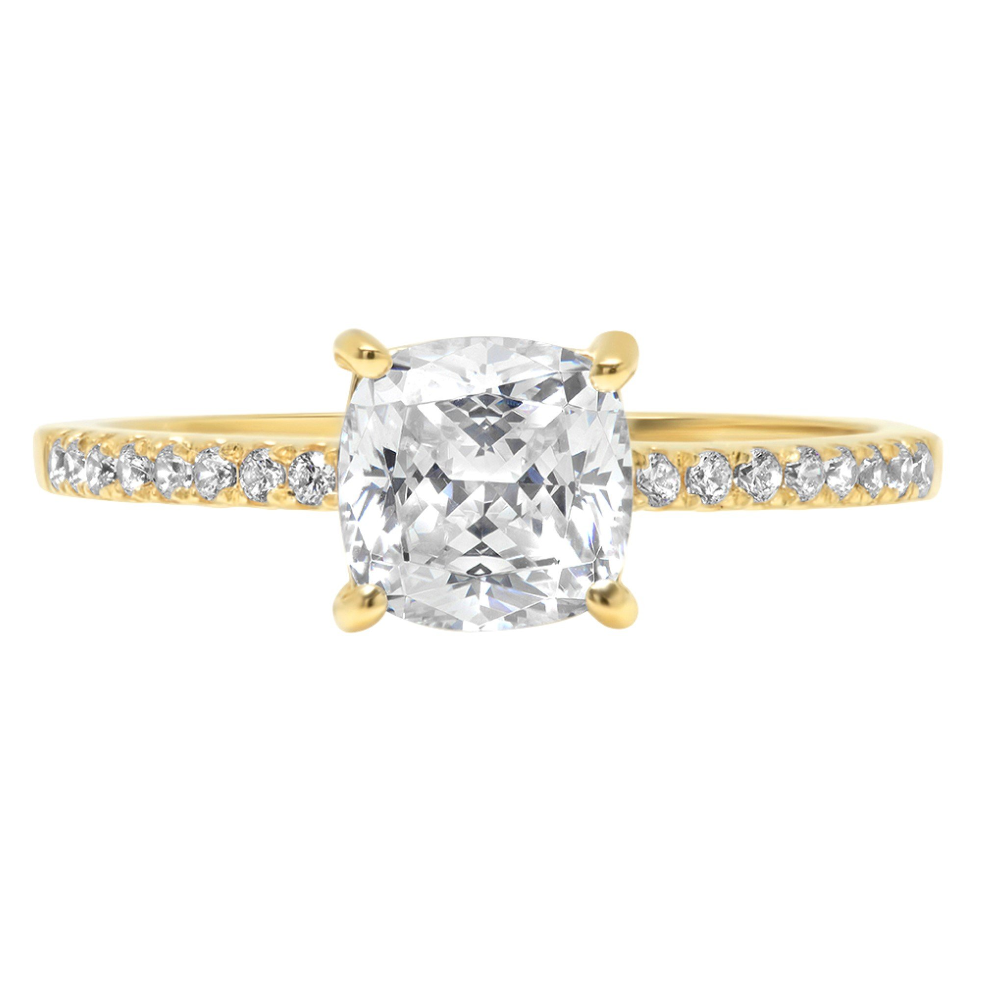 Cushion Round Cut Classic Solitaire Designer Wedding Bridal Statement Anniversary Engagement PromiseAccent Solitaire Ring 14k Yellow Gold, 1.86ct, 10.5 by Clara Pucci