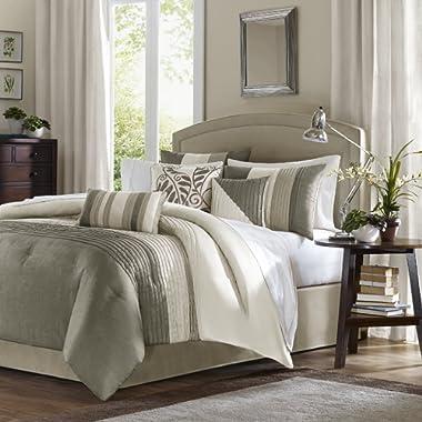 Madison Park Amherst King Size Bed Comforter Set Bed in A Bag - Khaki, Ivory, Pieced Stripes – 7 Pieces Bedding Sets – Ultra Soft Microfiber Bedroom Comforters