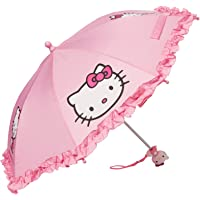 "SANRIO Girls' Umbrella with 3D Hello Kitty Figurine Handle Applique 20"" Pink"