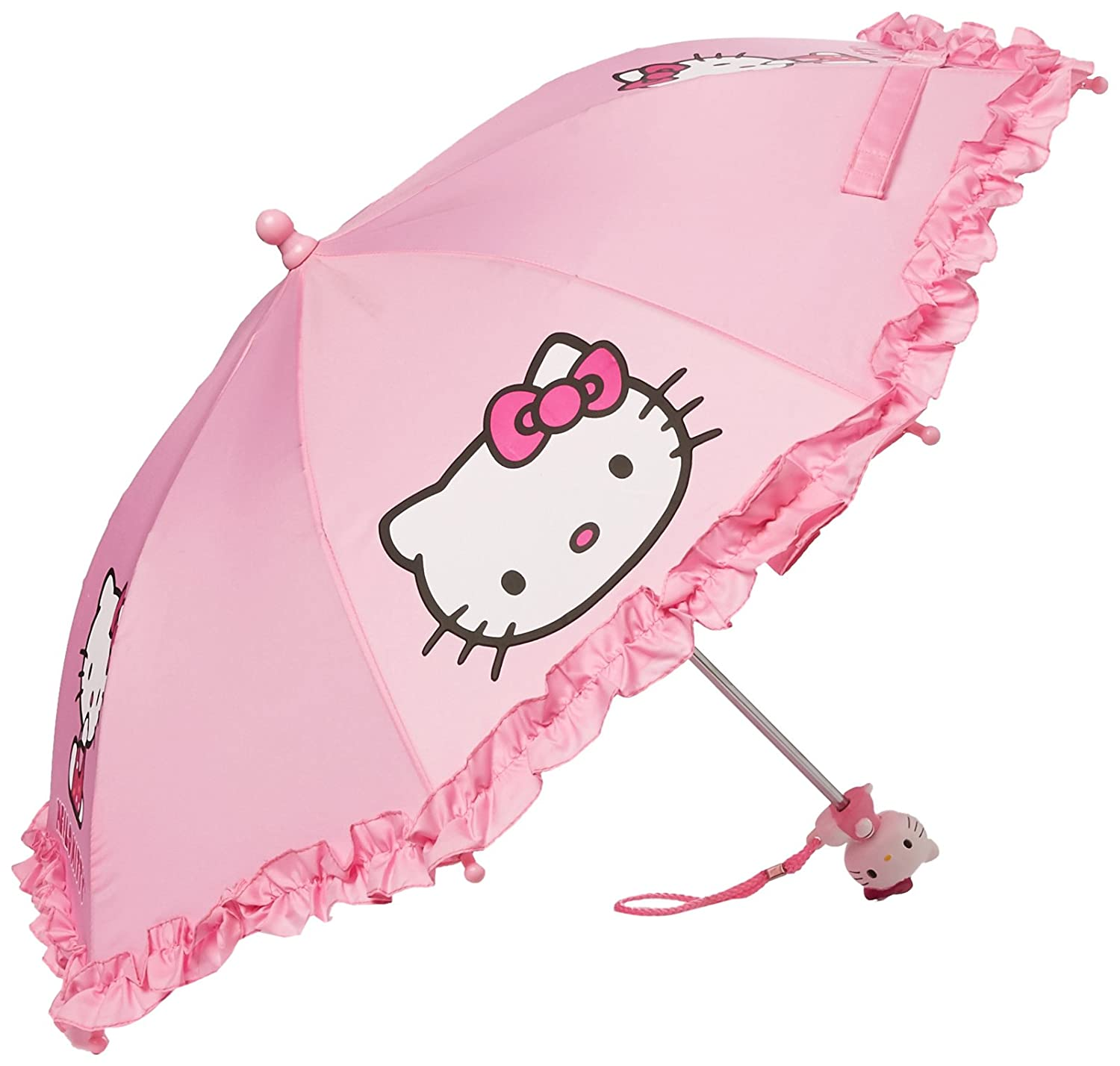 SANRIO Girls' Umbrella With 3D Hello Kitty Figurine Handle Applique 20 Pink