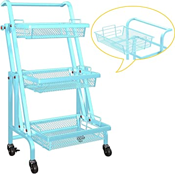 Green Kitchen Multifunctional Utility Cart With Mesh Baskets And 360 Lockable Wheels Metal Craft Trolley Organizer For Bedroom Bathroom Amazing Force 3 Tier Rolling Cart For Storage Office Office Furniture Accessories Office Products