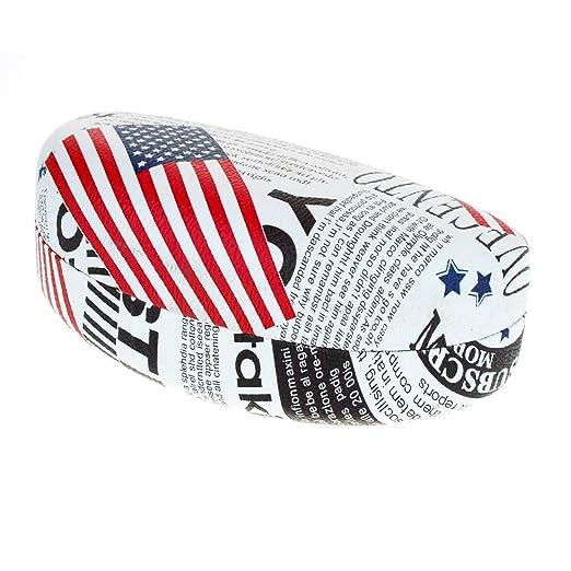 SA106 Womens USA Flag Newsprint Pattern Large Clam Shell Sunglasses Black
