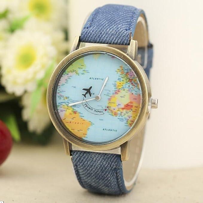 Amazon.com: World Map Women Men Denim Fabric Watches Quartz Relojes Mujer Relogio Feminino Gift Blue: Watches