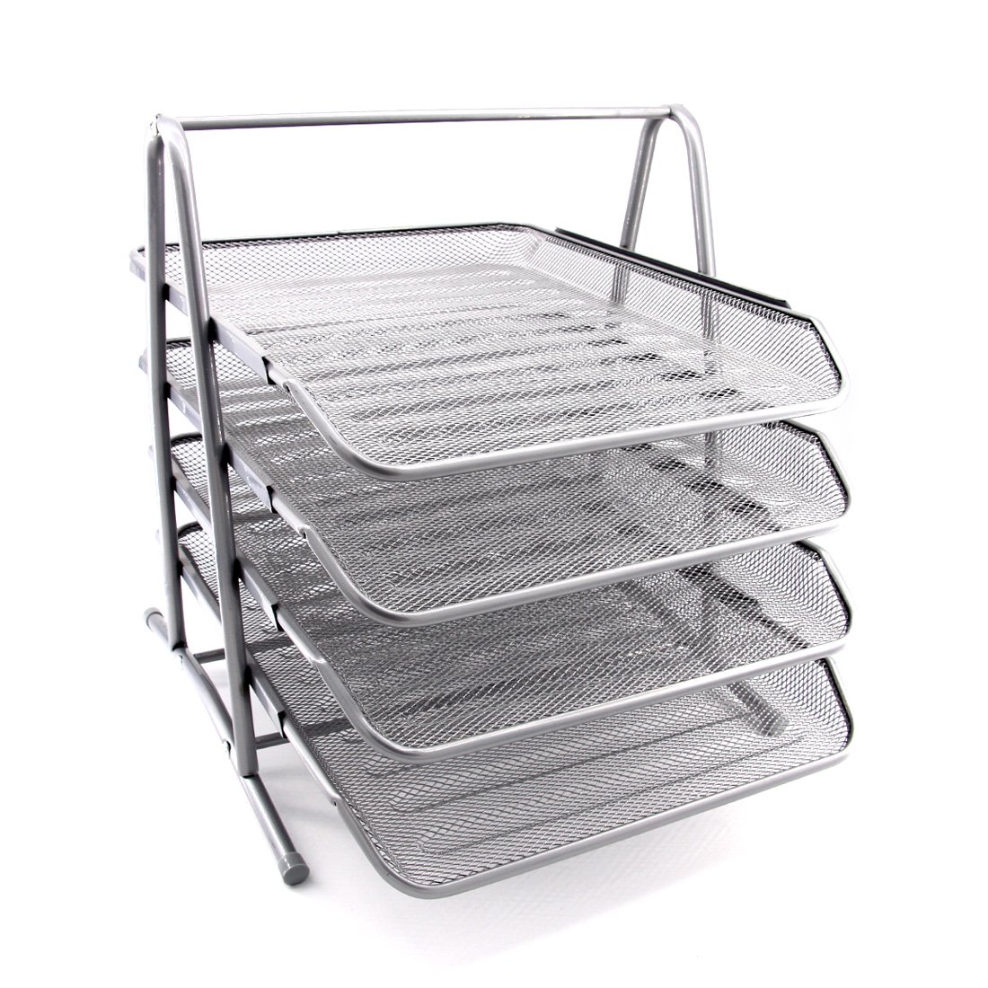 HAODE Fashion 4 Tiers Steel Mesh Document Tray, File Basket, Office Desk Organizer, Letter Tray Organizer, Desktop Document Paper File Organizer, Silver by HAODE Fashion (Image #2)