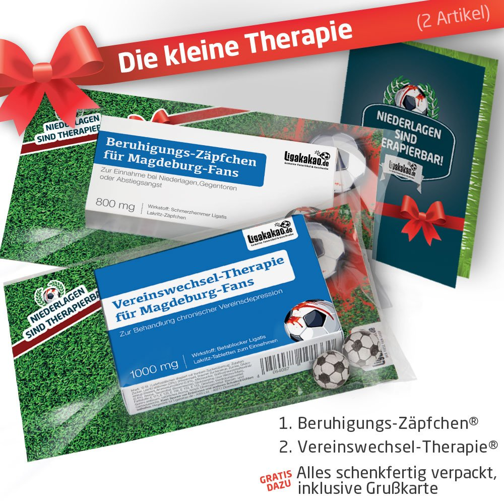 Geschenk-Set: Die Kleine Therapie für FC Magdeburg-Fans | 2X süße Schmerzmittel für 1. FC Magdeburg Fans Fanartikel der Liga, Besser ALS Tasse, Kaffeepott, Becher & Fahne Ligakakao.de