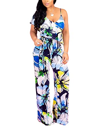 b22266880bf Amazon.com  Subtle Flavor Women s Floral Print Jumpsuits Sexy V Neck Spaghetti  Strap Ruffle Wide Leg Long Pants Rompers  Clothing