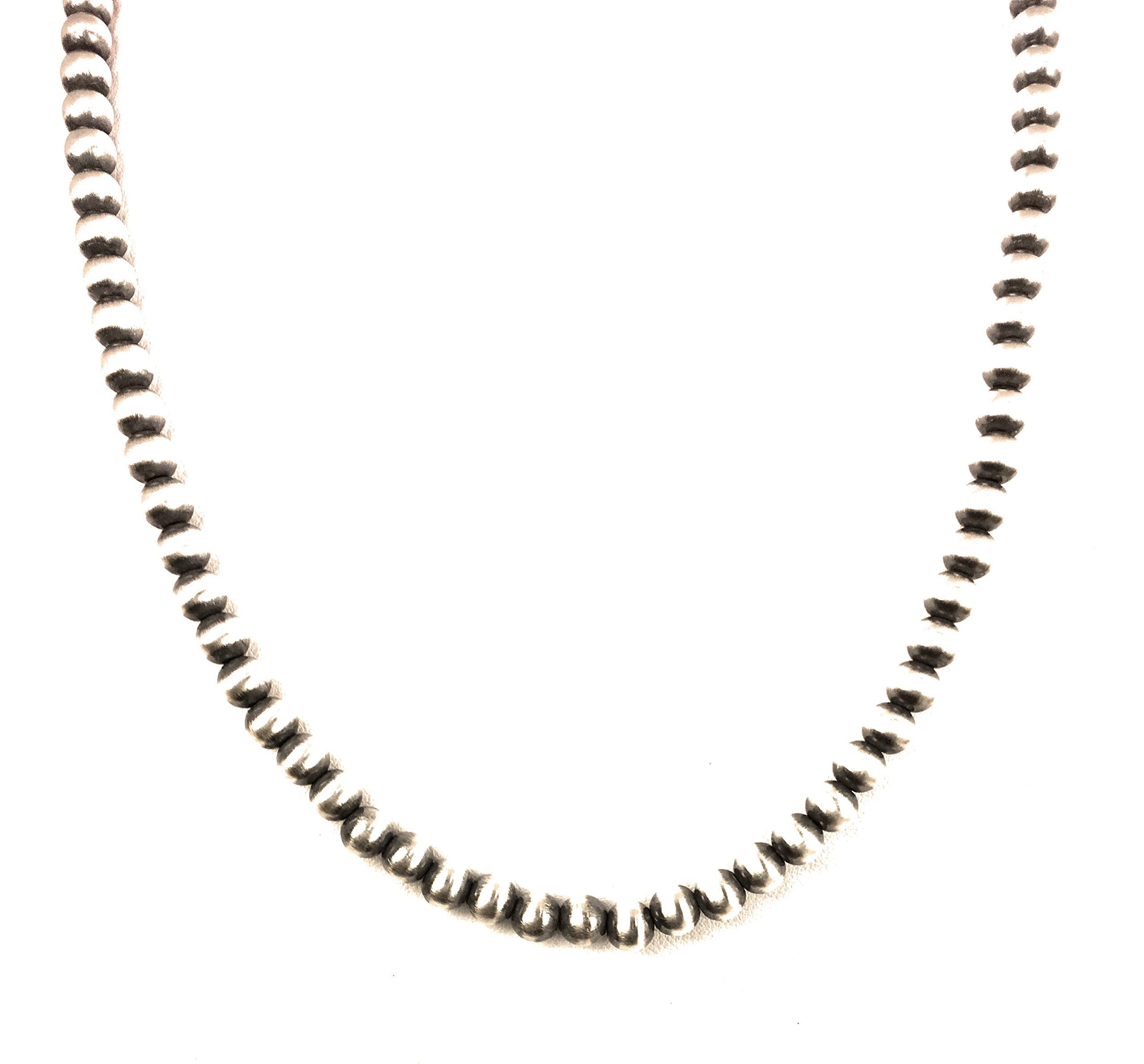 Masha Mashasilver Easter Special ! Southwestern Navajo Pearls 7mm Sterling Silver Bead Necklace 20'' Gift