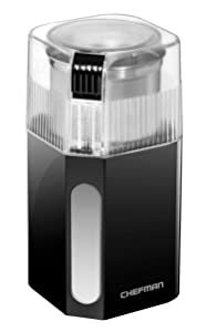 Chefman Coffee Grinder Powerful 250 Watt Electric Mill Freshly Grinds 2.5 oz Beans, Easy One Touch Operation, Removable & Dishwasher Safe Stainless Steel Grinding Cup & Blade, Black