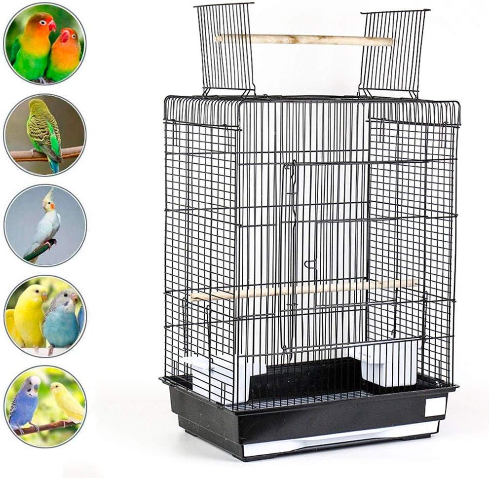 Jaula Pájaros Metal con Soporte de Poste y Contenedor de Comida Puede Desarrollar Habilidades de Equilibrio de Las Aves Jaula para Pajaros para Budgie Hogar Al Aire Libre y Viajes,b