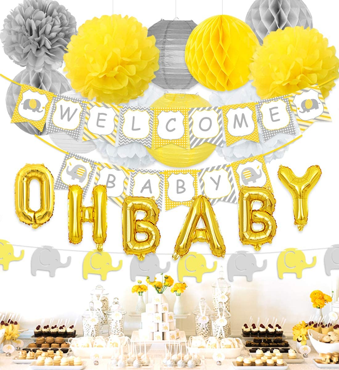 Elephant Baby Shower Decorations Neutral Party Decorations with Yellow and Gray Welcome Baby Banner, Elephant Garland