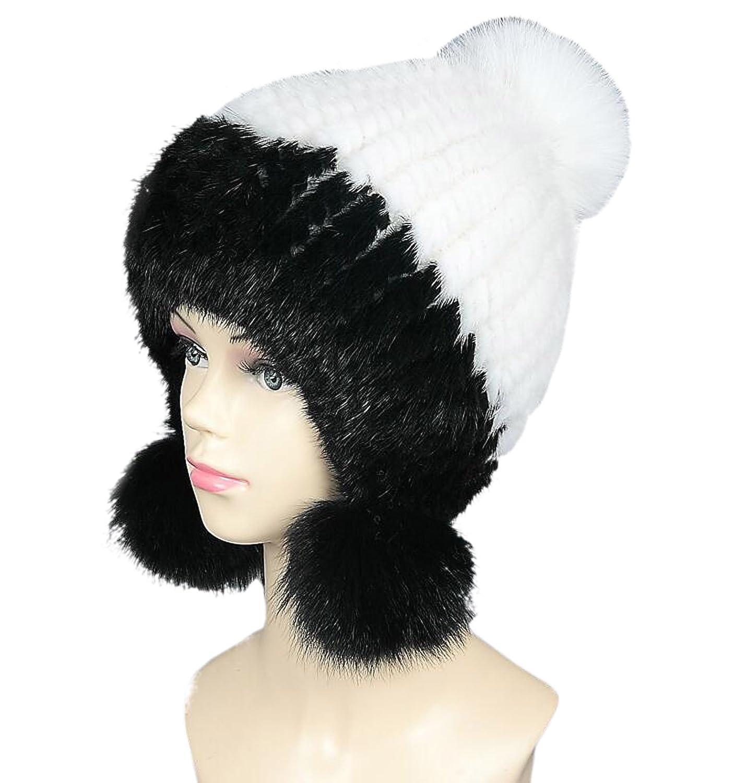 0fe8e06b1fb Easting Women s Warm Mink Fur Knitted Ear Flap Ski Hat with Fox Fur Pom Poms