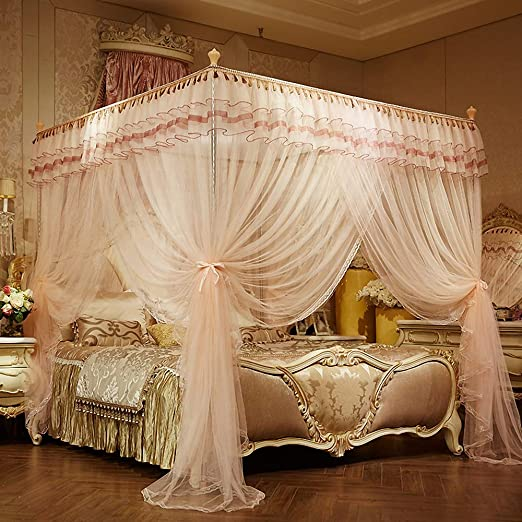 Twin, Pink Mengersi Elegant Bed Canopy Curtains Bedroom Decoration Lace Princess 4 Corner Post Mosquito Net for Girls Adult Kids Toddlers Crib