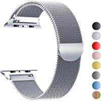 MouKou Ersatz Armbänder für Apple Watch Series 4 44mm und Series 3/2/1 42mm Silber Milanese Mesh Loop mit Magnetverschluss Edelstahl Armband
