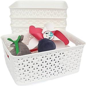 Honla Weaving Plastic Storage Baskets Bins Organizer with Handles,Set of 4,White