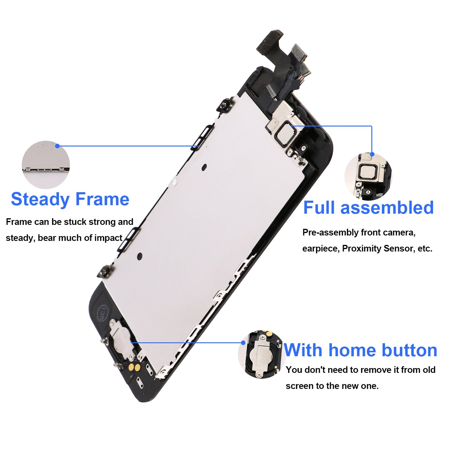 For iPhone 5 Screen Replacement With Home Button, Black- MAFIX Full Pre-assembly LCD Display Digitizer Touch Screen Kit Include Repair Tools & Screen Protector by MAFIX (Image #3)