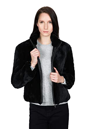 0cb9864f7 OBURLA Women's Real Rex Rabbit Fur Jacket - with Genuine Leather Accented  Zipper and Mandarin Collar