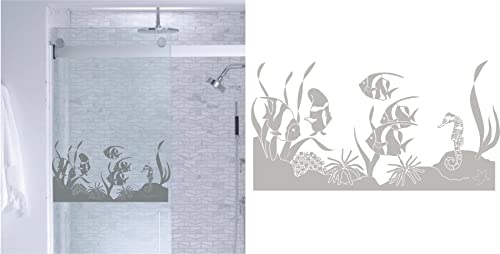 StickerChef Tropical Fish Ocean DIY Etched Glass Vinyl Window Films Shower Door Bathroom Decor