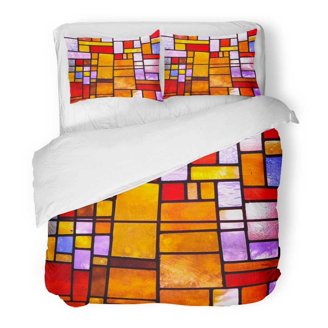 SanChic Duvet Cover Set Yellow Color Stained Glass Church Window in Reddish Tone Orientation Red Mosaic Decorative Bedding Set 2 Pillow Shams King Size