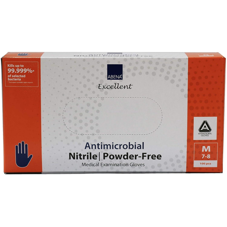 Abena Antimicrobial Nitrile Examination Gloves Medium 100 Count