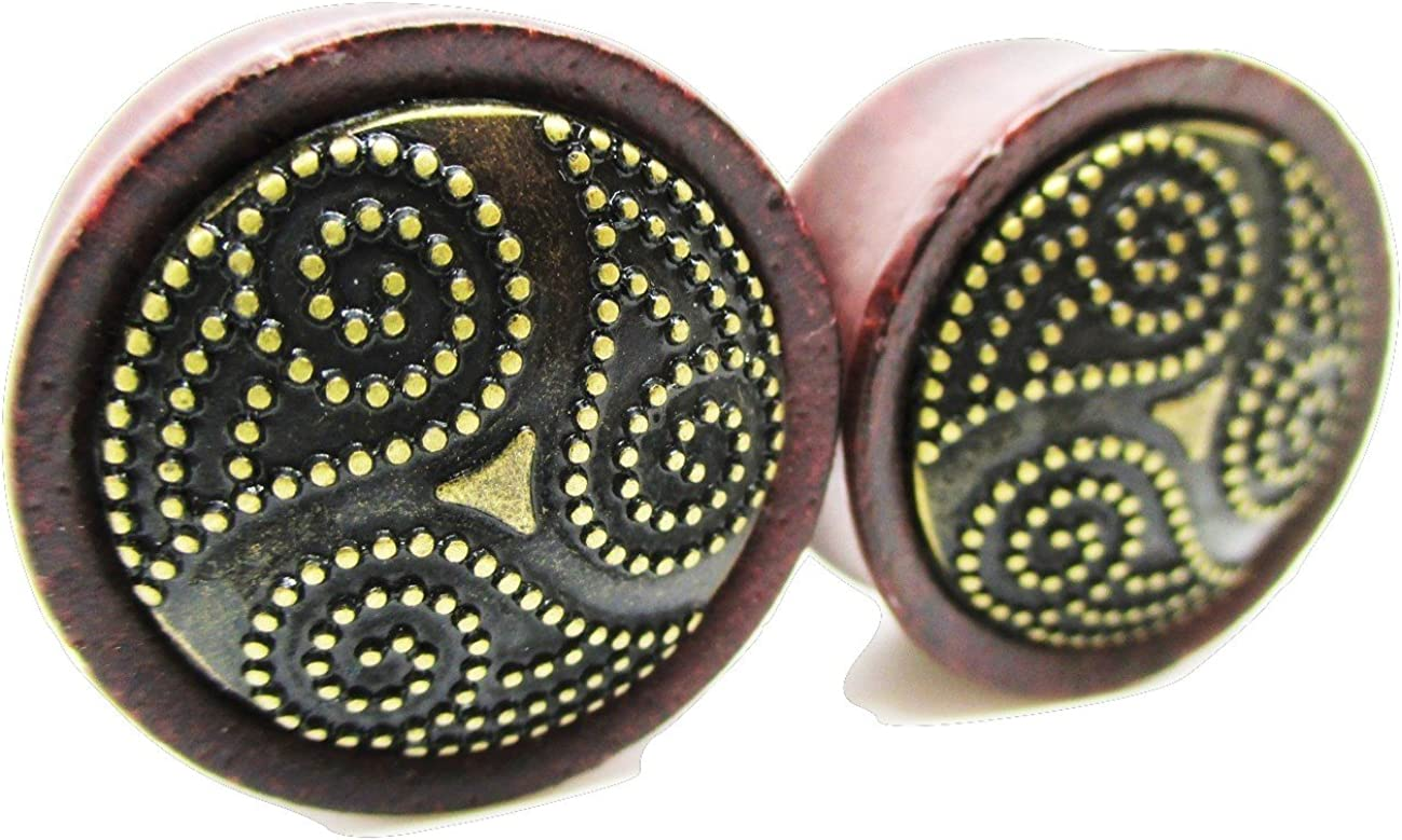 Metal Plated Spiral Organic Wood Ear Gauges - Double Flared Saddle - 9 Sizes - NewPair