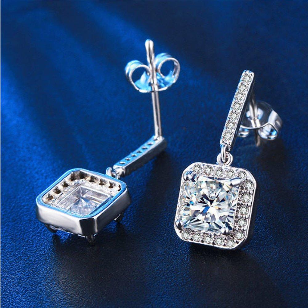 e134b9df18a218 Amazon.com: Halo Designer Dangle Princess Cut 4 Carats Simulated Diamond  Earrings 925 Silver: Jewelry