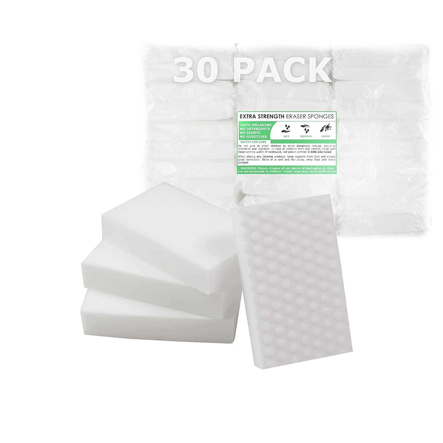 EXTRA STRENGTH Value Deal, MAGIC SPONGE CLEANERS ERASER PADS - WHITE - ALL PURPOSE - LONG LASTING (30 XS Eraser Pack) AX-AY-ABHI-90539