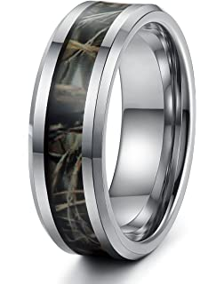 8MM Titanium Camo Inlay Wedding Band Comfort Fit Ring by Nivs