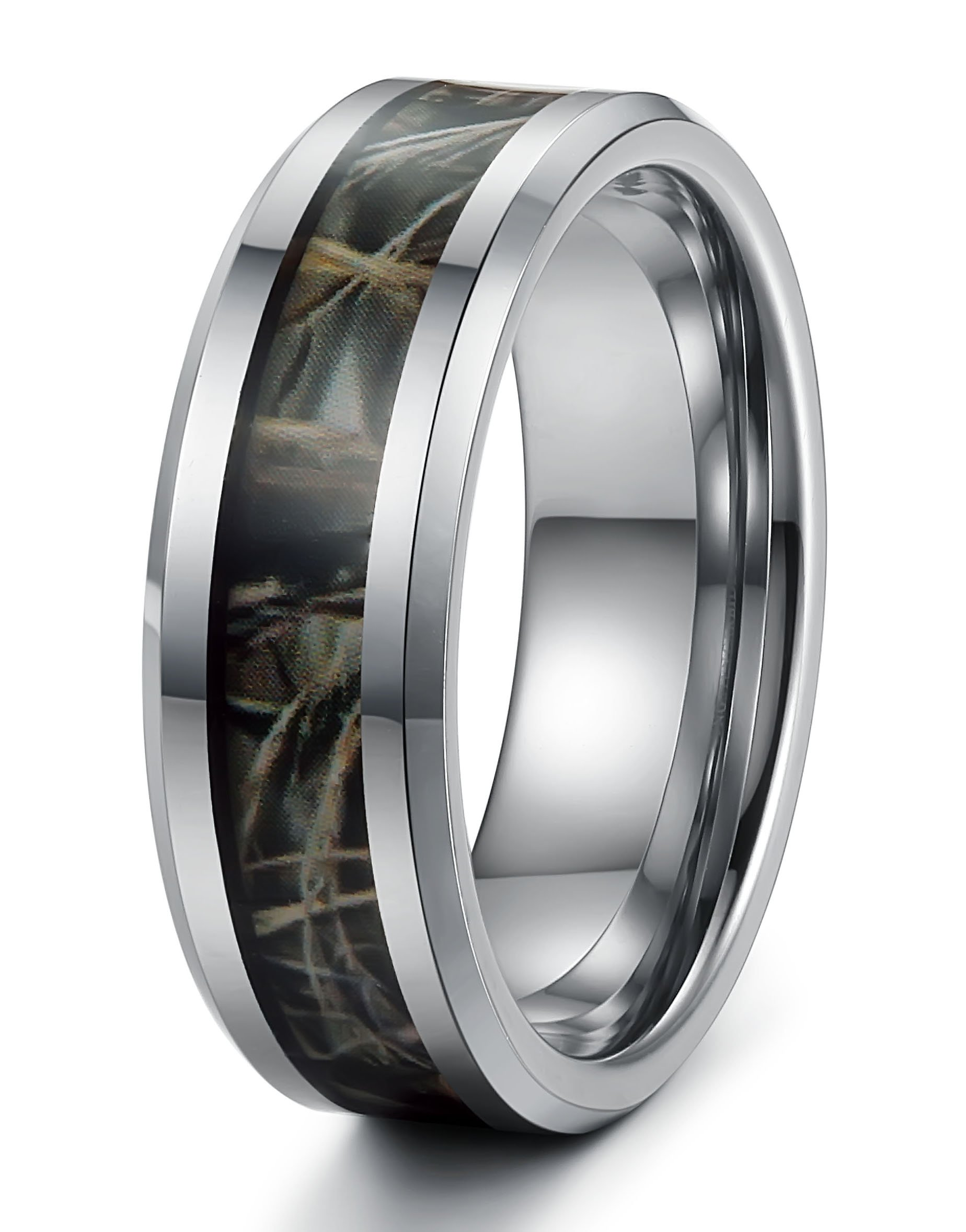 Tungary Jewelry 8mm Mens Tungsten Carbide Rings Wedding Engagement Band Camo Size 12.5