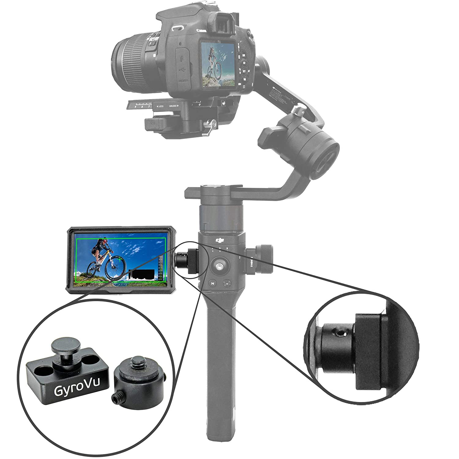 GyroVu Ultra Light Hi-Res 4K 5 HDMI Monitor with Swivel Mount for DJI Ronin-S