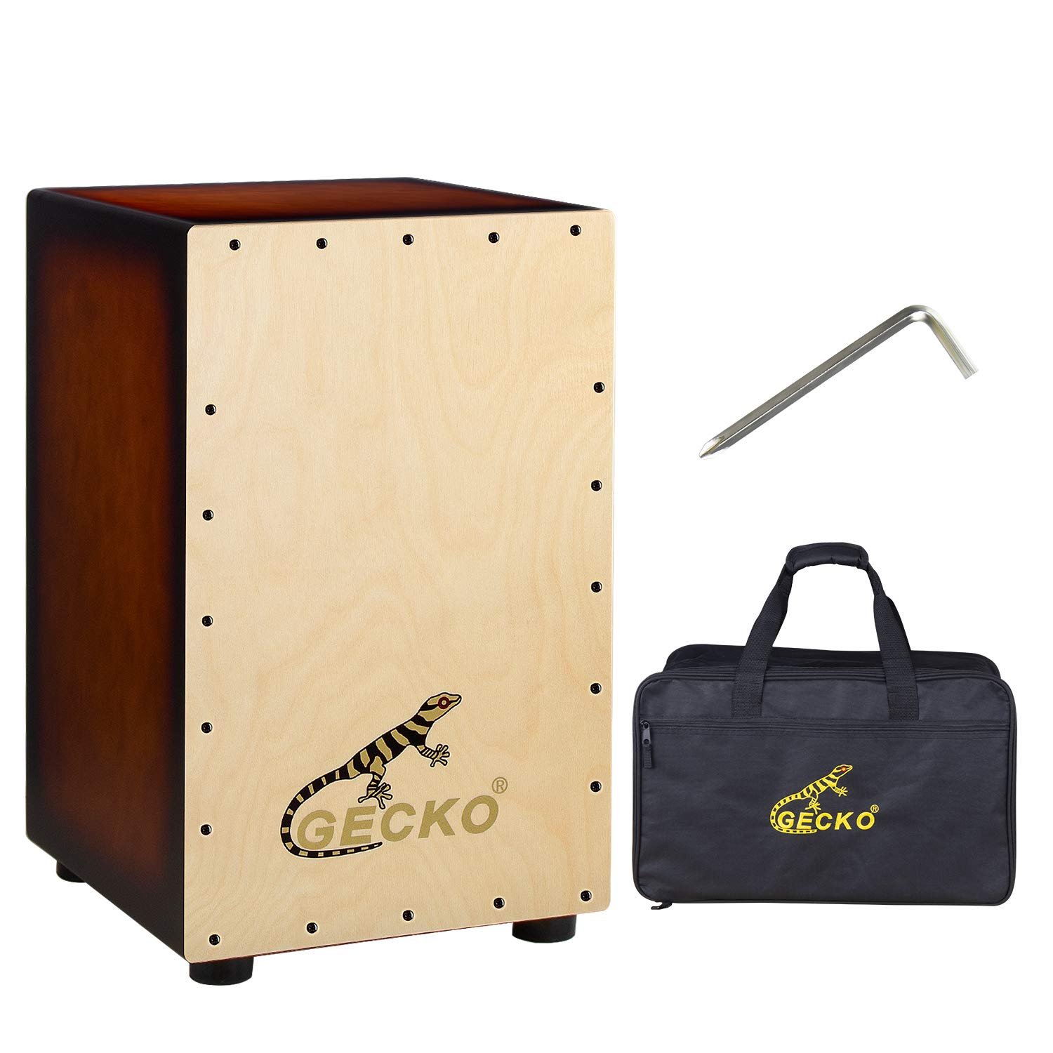 GECKO Wooden Cajon Stringed Percussion Box Gecko Pattern Hand Drum with Large Rubber Feet by GECKO