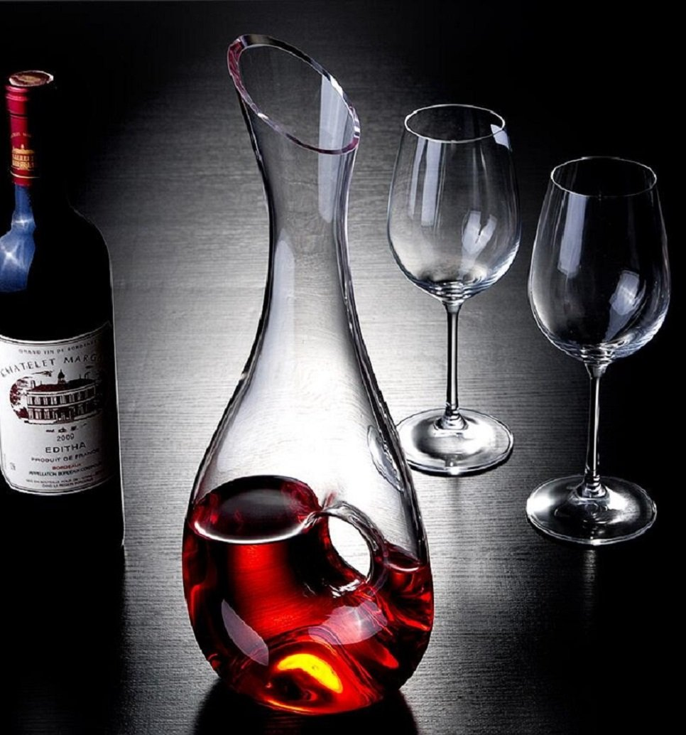 WOQO Carafe à Vin, 1.2L Carafe à Décanter, Vin Décanter, Cristal Verre  Décanteur Avec Belle ... 90b2bc8c81df