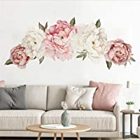 Peony Flower Wall Sticker Pink Peony Floral Wall Decals Peel and Stick Wall Stickers PVC Removable Wall Decal for Girls Living Room Nursery Decor