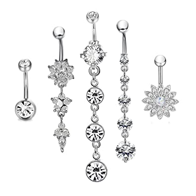800910e8f5dfab Amazon.com: CrazyPiercing Dangle Belly Button Rings Surgical Stainless  Steel for Women Girls 5 PCS Set (Silver): Beauty