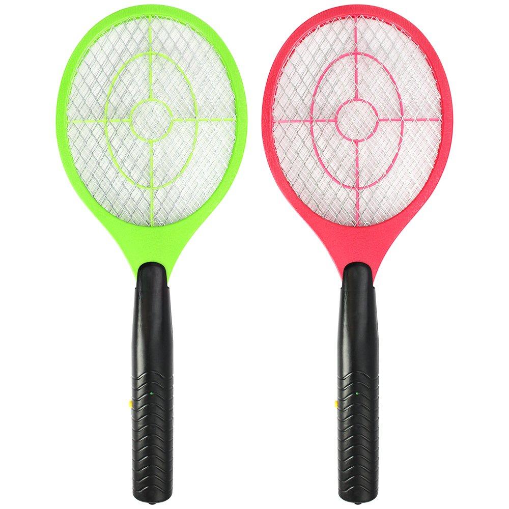 com-four® 2X Elektronische Fliegenklatsche, Fliegenfänger, Mosquito-Schläger in Verschiedenen Farben, 3 V (02 Stück - farblich Sortiert) Fliegenfänger