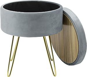Sorbus Velvet Footrest Stool, Round Mid-Century Modern Luxe Velvet Ottoman, Footstool Side Table, Removable Seat Lid, Gold Leg Design (Gold Legs - Gray)