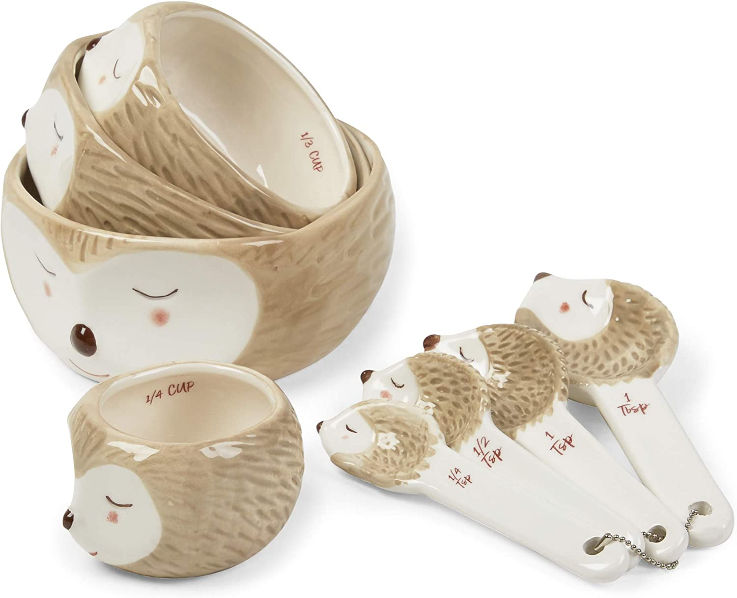 8-Piece Set Of Hedgehog Themed Measuring Cups And Measuring Spoons - Decorative Giftable Ceramic Cups & Spoons In Assorted Sizes For Kitchen Décor Display And Practical Use by Tri-Coastal Design