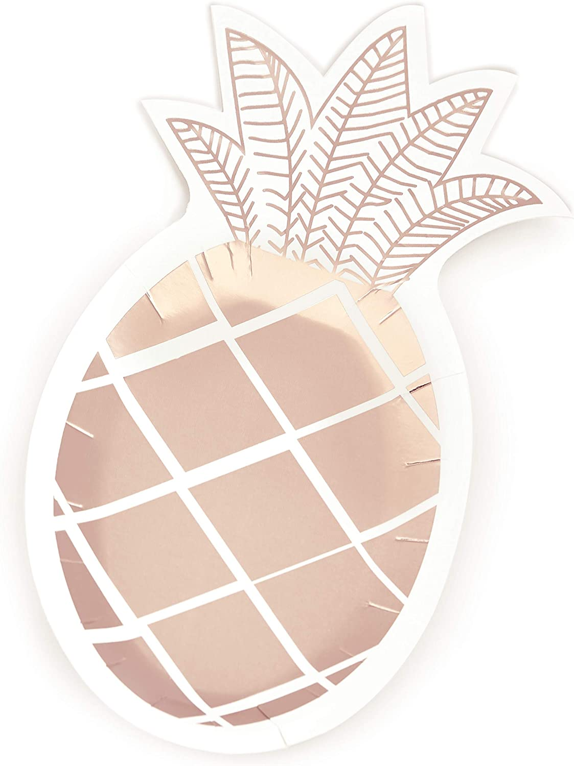 15 pc Rose Gold Pineapple Party Plates - Biodegradable 10 by 6 inch Hawaiian Summer Themed - Wedding Anniversary Bridal Baby Shower Bachelorette Birthday School Graduation Party Supplies Biodegradable