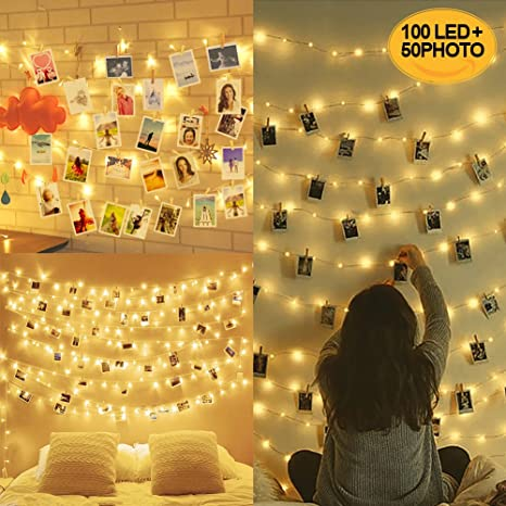huge discount 9cde3 1197a 100LED Peg Lights for Photo Peg and String - 10M Fairy Lights with Pegs  Photo Frames Photo Clip String Lights, Hanging Photo Frames Decorations  (with ...
