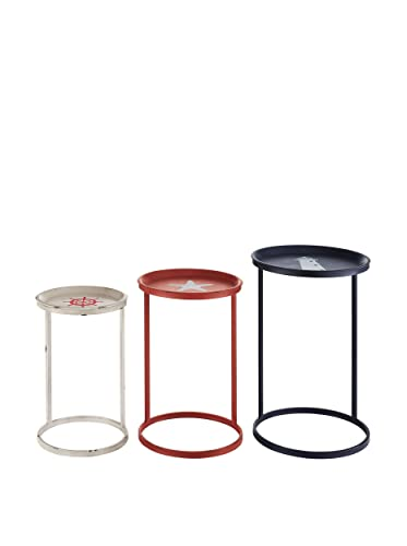 Linon Nesting Table in Navy- Red- and White Set of 3