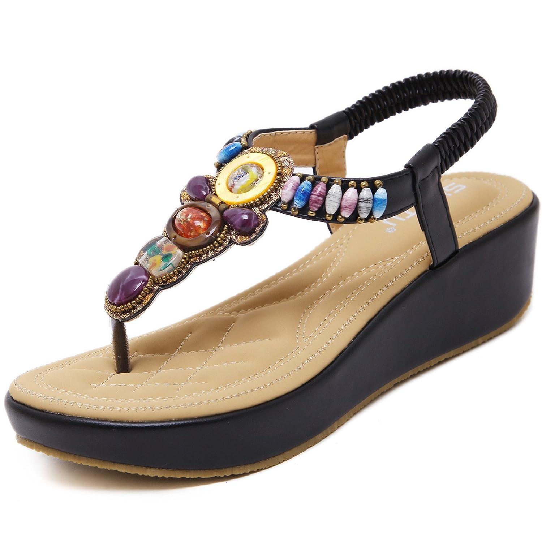 Damen Zehentrenner Sandalen Bohemia Keilabsatz Strass Frauen Sommer Schuhe  40 EU|Violett