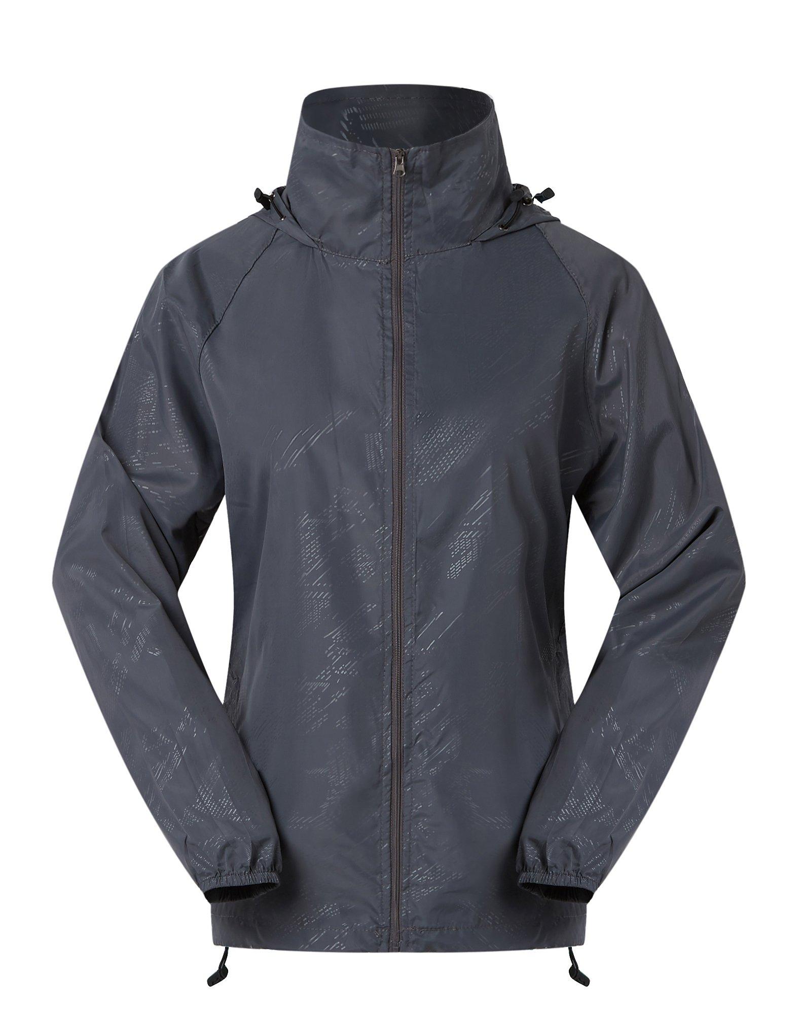 Cheering Women's Lightweight Jackets for Women Waterproof Windbreaker Jacket Super Quick Dry UV Protect Running Coat Grey S