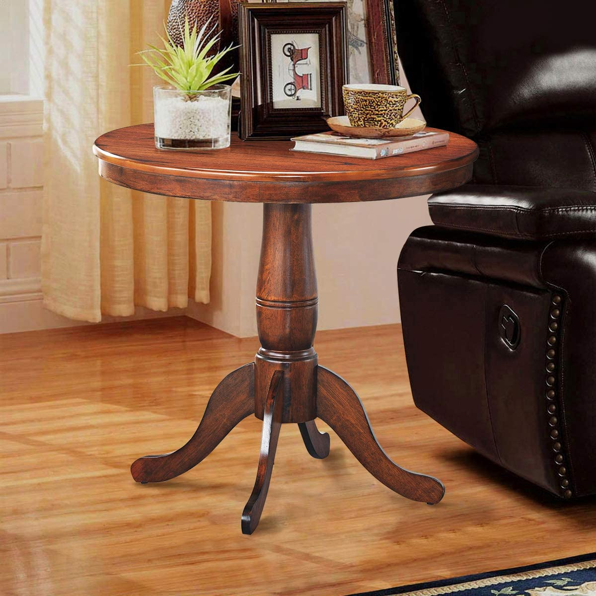 Giantex Table 30 Wooden Round Pub Pedestal Side Table