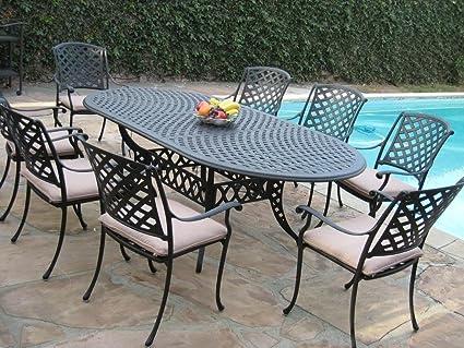 Cast Aluminum Outdoor Patio Furniture 9 Piece Expandable Dining Set  DS 09KLSS260180T