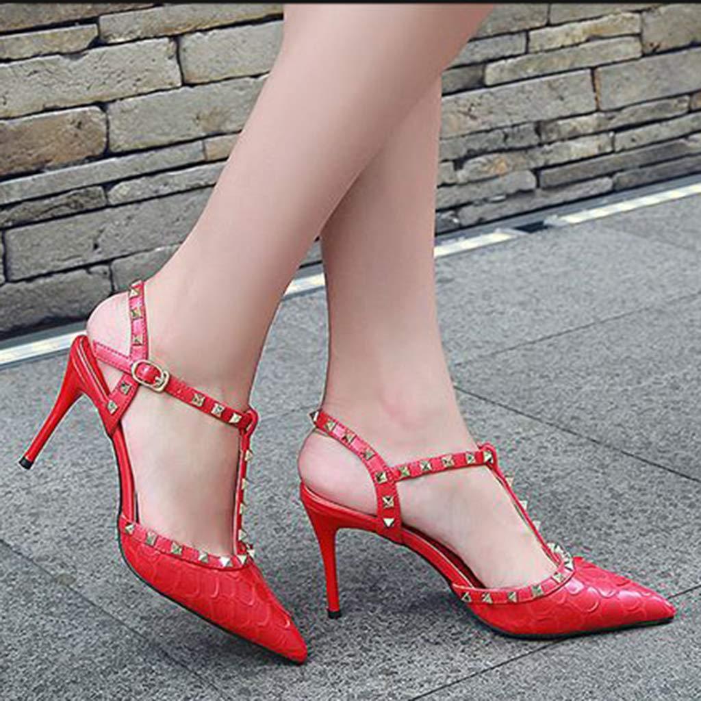 Yra Damen Closed Toe Rivet Stiletto Stiletto Stiletto Schuhe Sexy Dorsay T Bar High Heels Schuhe für Damen Party Prom Pumps Sandalen 24b784