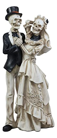 Ebros Love Never Dies Wedding Bride and Groom Skeleton Couple in Dancing Pose Figurine 13.5 Tall Day of The Dead DOD Skulls Ossuary Macabre Graveyard Spooky Halloween Decor Statue